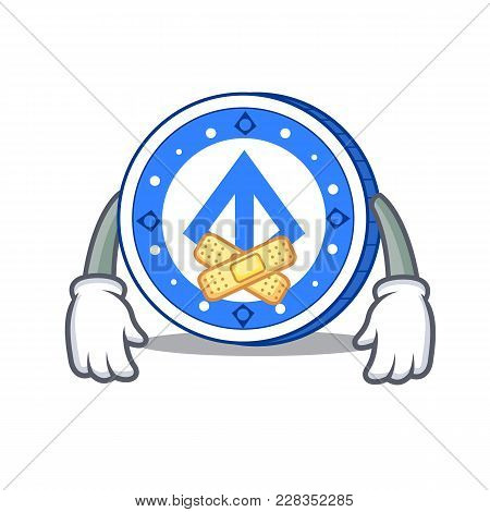 Silent Loopring Coin Mascot Cartoon Vector Illustration