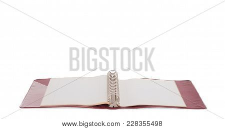 Old Red Ring Binder Isolated