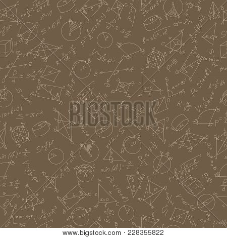 Seamless Pattern On The Theme Of Study And Subject Of Geometry, Graphs And Formulas, Beige Outlines