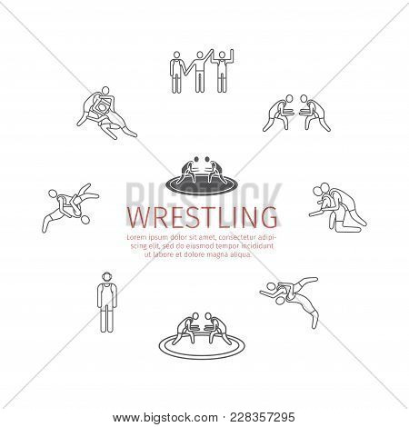 Wrestling Line Icons. Greco-roman. Vector Signs For Web Graphics