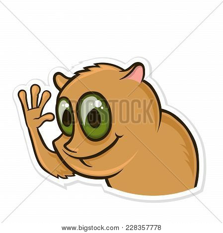 Sticker For Messenger With Funny Animal. Hamster Waving His Hand. Vector Illustration, Isolated On W