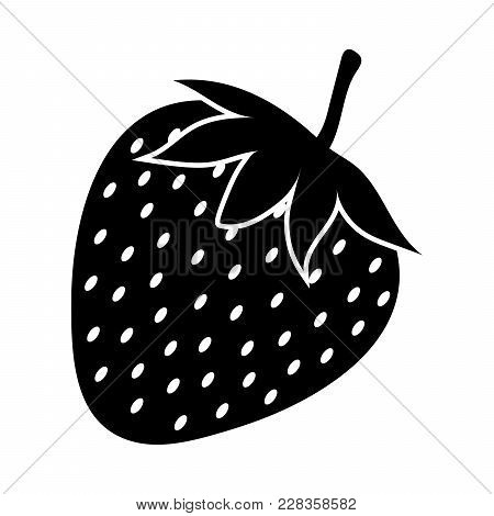 Silhouette Of Strawberry On A White Background. Vector Illustration