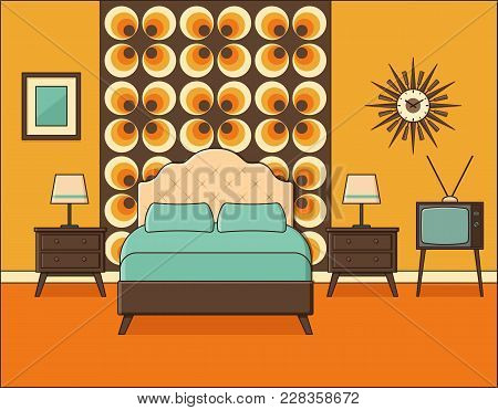 Bedroom Interior. Hotel Room In Flat Design. Retro. Vector. Home Space With Bed And Tables In Line A
