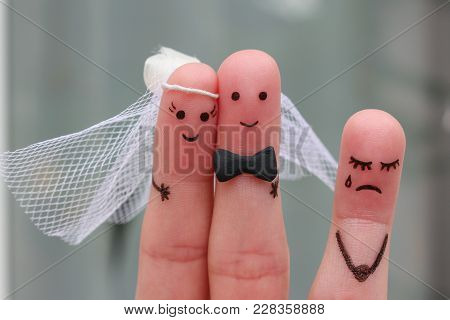 Fingers Art Of Happy Couple To Get Married. Other Woman Upset.