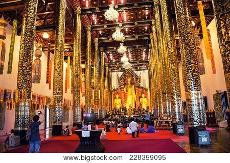 Chiang Mai, Thailand - July 18, 2016: Inside The Wat Chedi Luang Temple During The Buddhist Celebrat