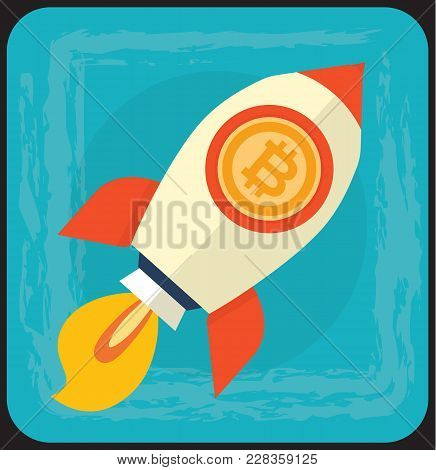 Vector Concept Cartoon Illustration Of Bitcoin Huge Growth On Cryptocurrency Markets