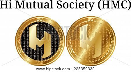 Set Of Physical Golden Coin Hi Mutual Society (hmc), Digital Cryptocurrency. Hi Mutual Society (hmc)