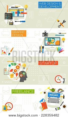 Creative Process Concept Banners - Graphic Design, Webdesign, Development, Startup And Freelance Con