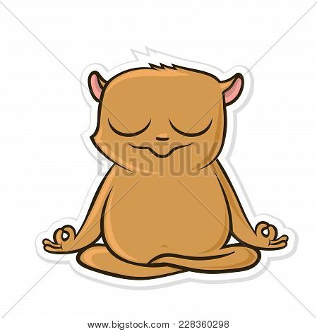 Sticker For Messenger With Funny Animal. Hamster Practicing Yoga, Sitting In Lotus Position. Vector