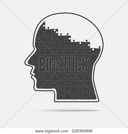 Black Puzzle Piece Silhouette Head In A Grey Square - Vector Illustration. Jigsaw Puzzle Blank Templ