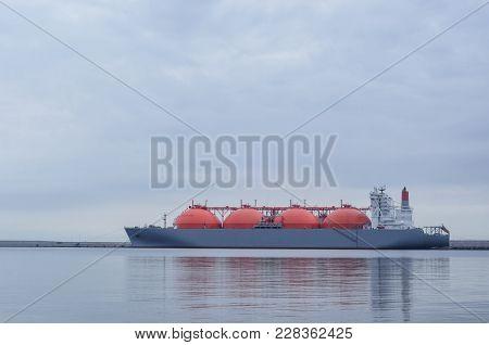 Lng Tanker - A Large Ship At The Lng Terminal