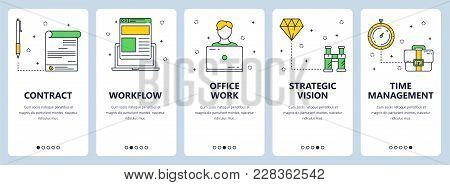 Vector Set Of Vertical Banners With Contract, Workflow, Office Work, Strategic Vision, Time Manageme