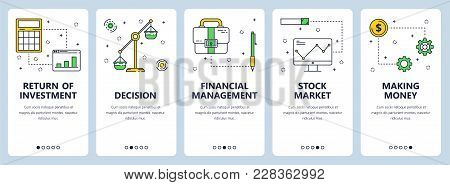 Vector Set Of Vertical Banners With Return Of Investment, Decision, Financial Management, Stock Mark