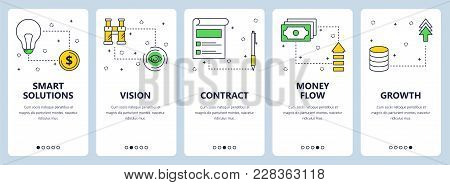 Vector Set Of Vertical Banners With Smart Solutions, Vision, Contract, Money Flow, Growth Website Te