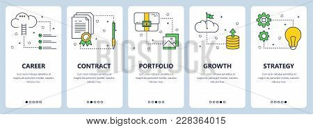 Vector Set Of Vertical Banners With Career, Contract, Portfolio, Growth, Strategy Website Templates.