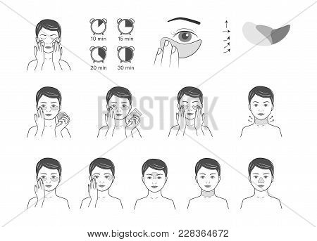 Instructions For Use Cosmetic Patches For Face Wrinkles.vector Illustration.isolated On White Backgr