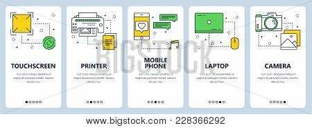 Vector Set Of Vertical Banners With Touchscreen, Printer, Mobile Phone, Laptop, Camera Website Templ
