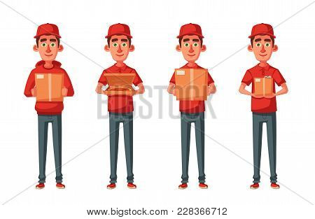 Delivery Service. Man With Box. Cartoon Vector Illustration. Fast And Free Delivery Concept. Funny C
