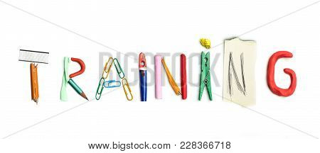 Concept Of Idea With Colorful Crumpled Paper. The Word Training Created From Office Stationery. The