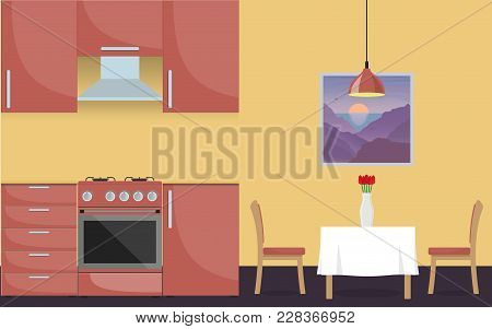 Modern Stylish Kitchen Interior. Kitchen Furniture, Gas Stove, Dining Table And Vase With Flowers. V