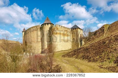 Khotyn Fortress Built In The 14th Century. General View Of Fortress From The West At Early Springtim