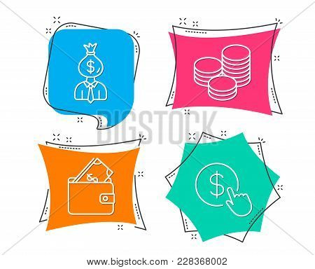Set Of Manager, Wallet And Tips Icons. Buy Currency Sign. Work Profit, Usd Cash, Cash Coins. Money E