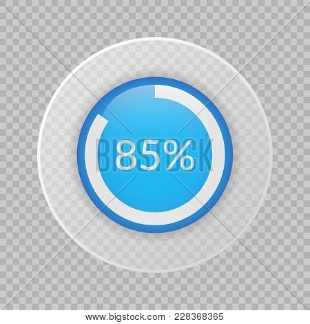 85 Percent Pie Chart On Transparent Background. Percentage Vector Infographics. Circle Diagram Isola