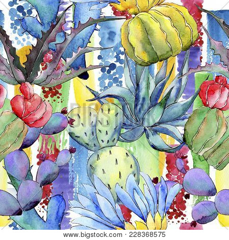 Wildflower Cactus Flower Pattern In A Watercolor Style. Full Name Of The Plant: Cactus. Aquarelle Wi