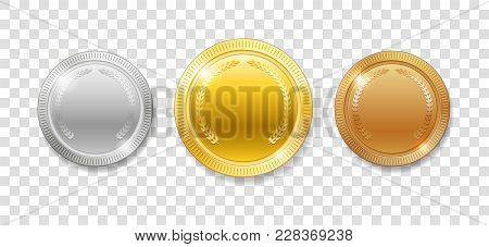 Champion Award Medals For Sport Winner Prize. Set Of Realistic 3d Empty Gold, Silver And Bronze Meda
