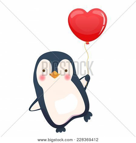 Penguin Holding Balloon. Cute Animal Illustration. Penguin Icon