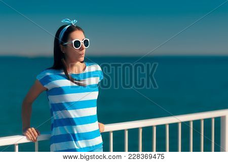 Beautiful Summer Fashion Girl In Navy Striped Shirt And Sun Glasses