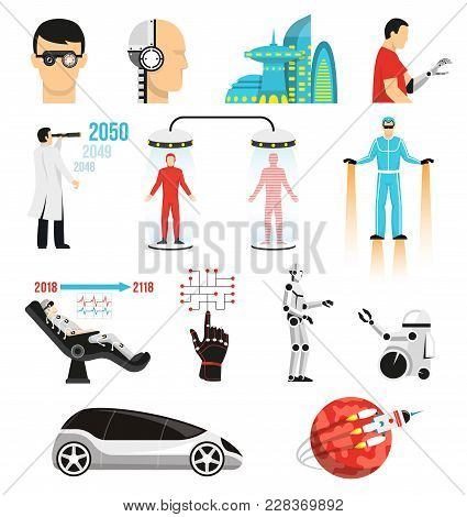 Futurology Icons Set With Bionic Medicine, Human Cloning, Cryopreservation, Future City, Space Touri