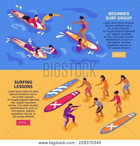 Surf School For Adult Horizontal Banners With Beginner Surf Group And Surfing Lessons  Isometric Com
