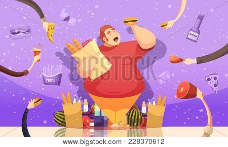 Gluttony Leading To Obesity Cartoon Poster With Fat Man Holding Hamburger And Package Of Baked Goods