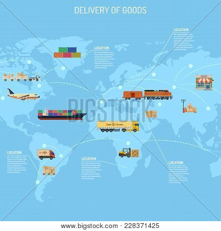 Delivery Of Goods Concept With Railway Freight, Air Cargo, Maritime Shipping And Trucking In Flat St