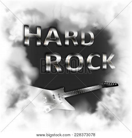 Hard Rock In The Smoke Musical Background With A Fictional Electric Guitar In The Smoke On A White B