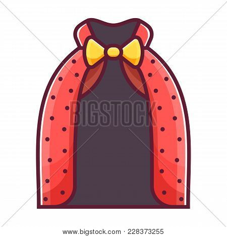 Magician Mantle With Bow Tie Icon. Wizard Robe Or Halloween Masquerade Costume In Flat Design. Red I