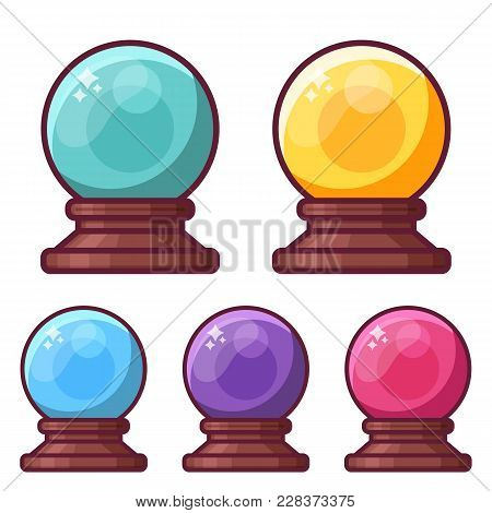 Fortune Teller Crystal Sphere Icons. Glass Wizard Magic Ball For Mystic Rituals And Prediction.