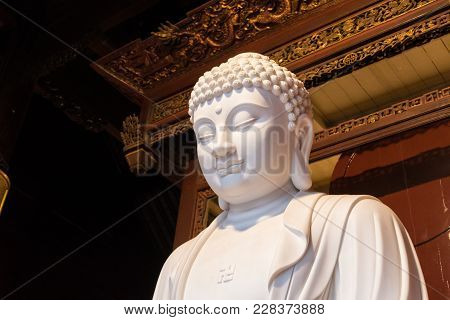 Close-up Of Buddhist God Statue In The Ancient Longhua Temple. China, Shanghai.
