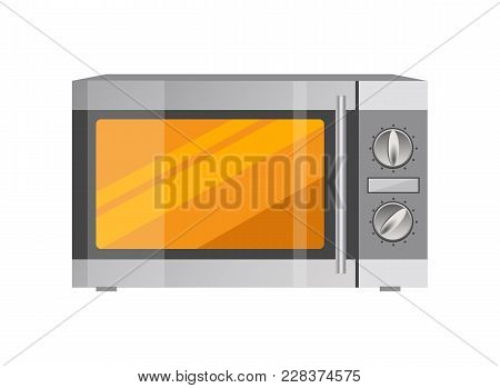 Powerful Microwave Oven In Metallic Corpus. Modern Compact Oven With Less Functions. Electric Kitche