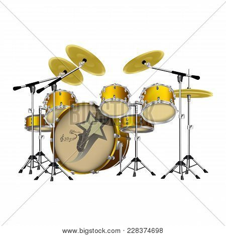 Vector Illustration Of A Drum Set, A Set Of Drums For A Music Game, Isolated Object On A White Backg