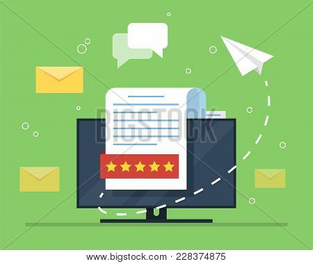 E-mail Marketing. The Concept Of An Open E-mail With A Nested Document Against The Backdrop Of A Com