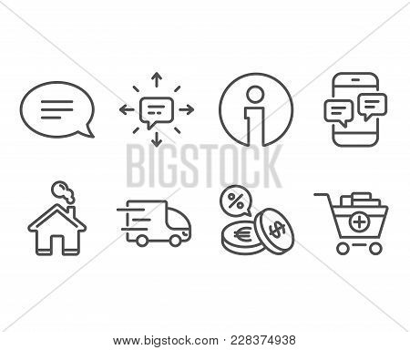 Set Of Truck Delivery, Phone Messages And Currency Exchange Icons. Sms, Chat And Add Products Signs.