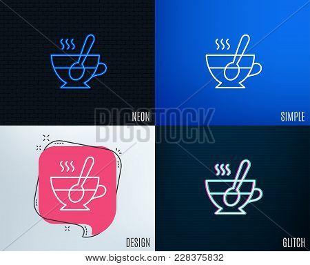 Glitch, Neon Effect. Cup With Spoon Line Icon. Fresh Beverage Sign. Latte Or Coffee Symbol. Trendy F