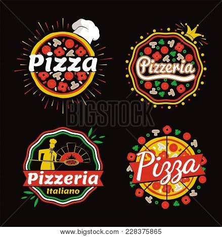 Pizza And Pizzeria Logos Set, Collection Of Badges Of Pizza And Pizzaria Italiano, Slices And Hat, C
