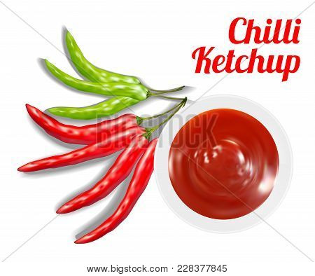 Chilli Ketchup Suace In Dish With Chilli