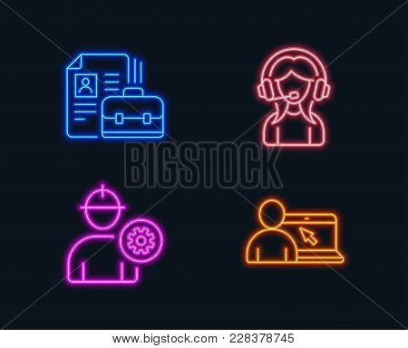 Neon Lights. Set Of Engineer, Vacancy And Support Icons. Online Education Sign. Worker With Cogwheel
