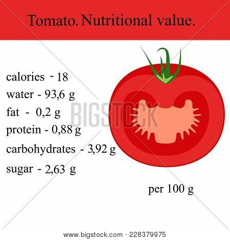 Healthy Lifestyle. Tomato. Nutritional Value Health Vector Illustration