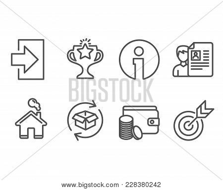 Set Of Job Interview, Return Parcel And Login Icons. Payment Method, Victory And Target Signs. Cv Fi