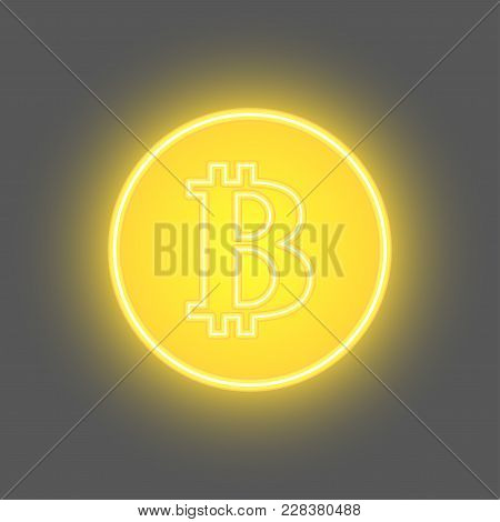 Bitcoin Physical Bit Coin Digital Currency Cryptocurrency Golden Coin With Bitcoin Symbol. Eps 10